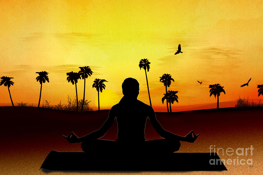 Yoga At Sunrise Digital Art  - Yoga At Sunrise Fine Art Print