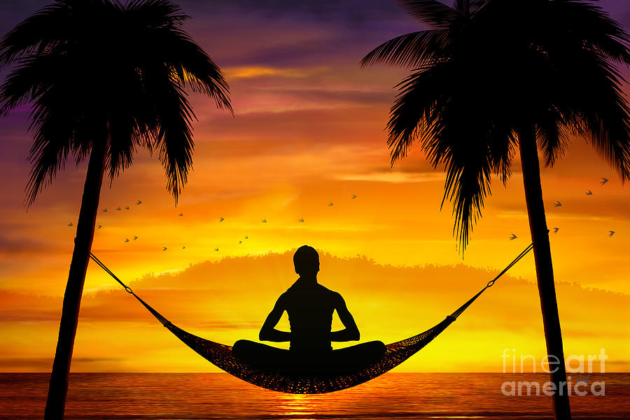 Yoga At Sunset Digital Art  - Yoga At Sunset Fine Art Print