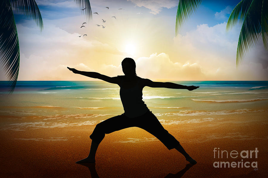 Yoga Digital Art - Yoga On Beach by Bedros Awak