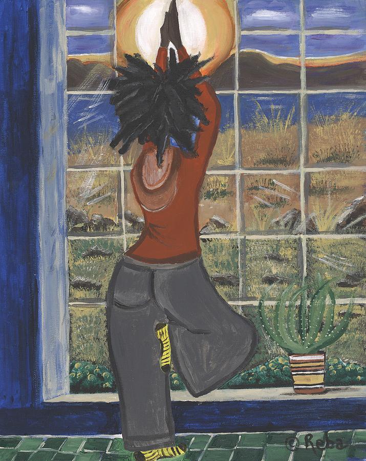 Rare Yoga Art Painting - Yoga by Reba Baptist