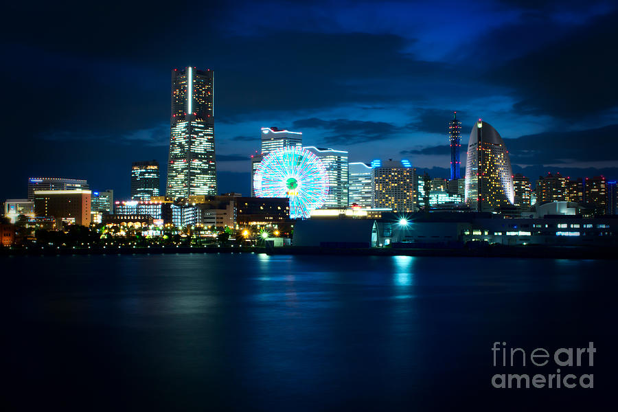Yokohama Minatomirai At Night Photograph  - Yokohama Minatomirai At Night Fine Art Print