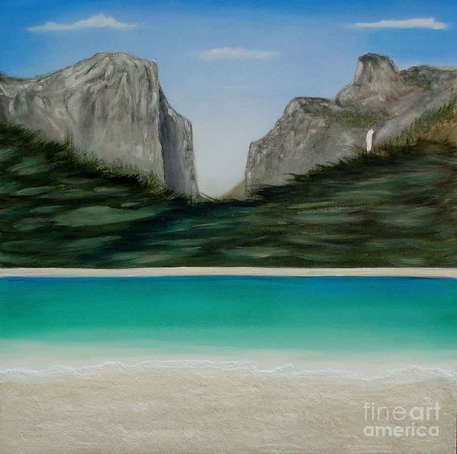 Yosemite Beach Painting  - Yosemite Beach Fine Art Print