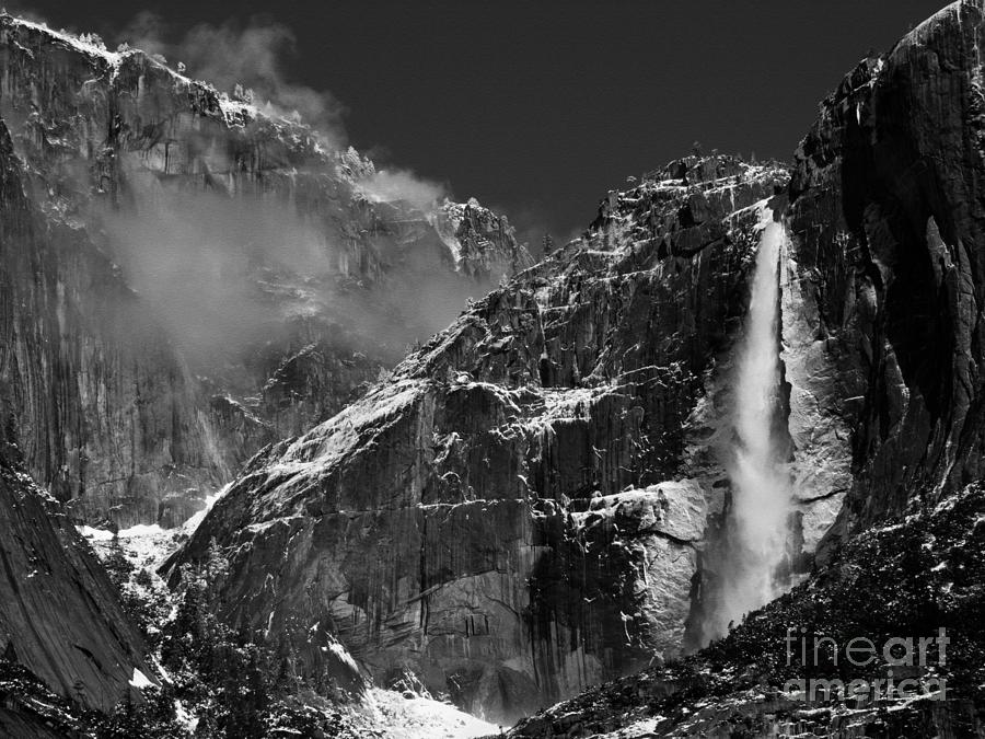 Yosemite Falls In Black And White Photograph