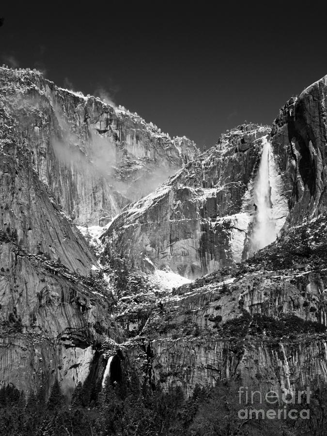 Yosemite Falls In Black And White II Photograph