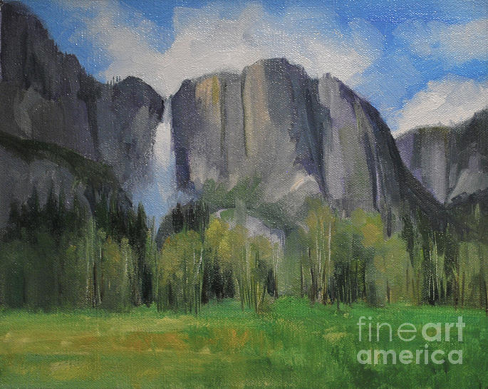 Yosemite Falls Spring Meadow  8 X 10 Painting