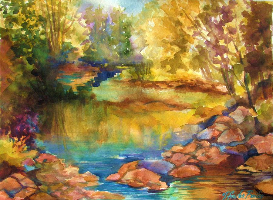 Yosemite Golden Trees On Still Waters Painting  - Yosemite Golden Trees On Still Waters Fine Art Print