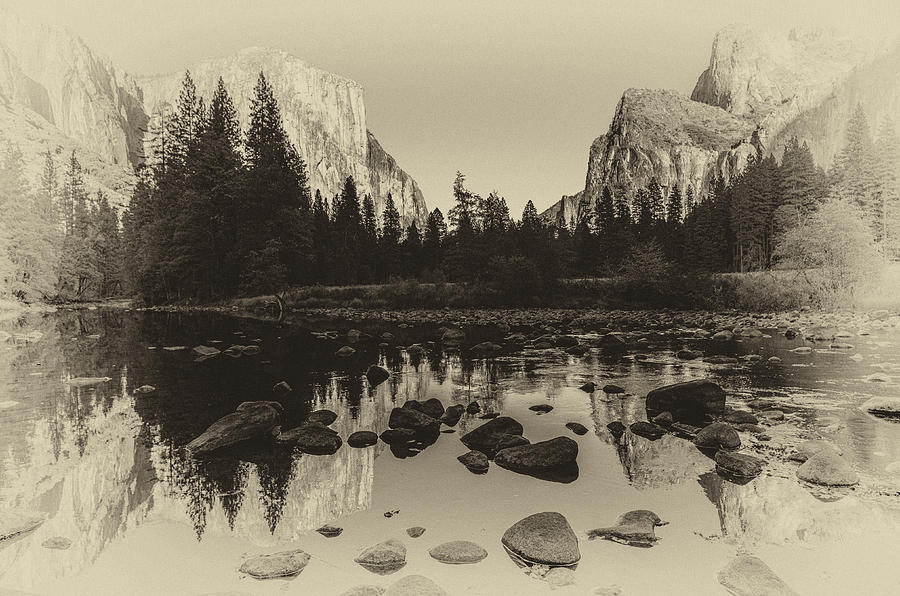 Ansel Adams Inspired Photograph - Yosemite National Park Valley View Antique Print   by Scott McGuire