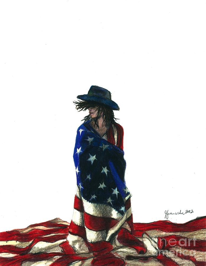 Patriotic Drawing - You Find Freedom Inside by J Ferwerda