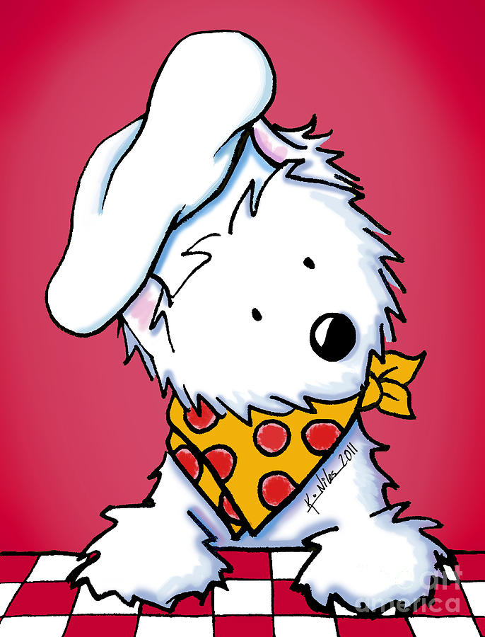 Westie Drawing - You Wanna Pizza Me? 3 by Kim Niles