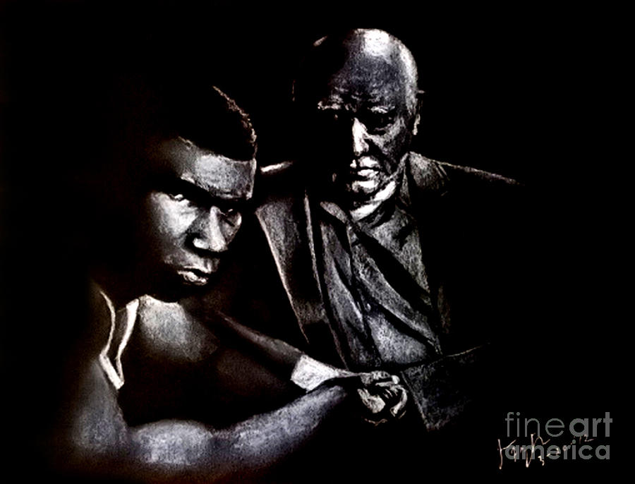 Young Boxer And Soon To Be World Champion Mike Tyson And Trainer Cus Damato Drawing