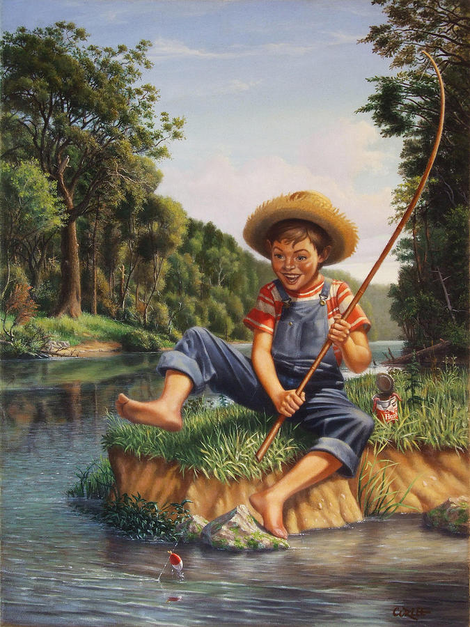 Young Boy Fishing River Americana Rustic Rural Nostalgic Country American Scene Print Painting  - Young Boy Fishing River Americana Rustic Rural Nostalgic Country American Scene Print Fine Art Print