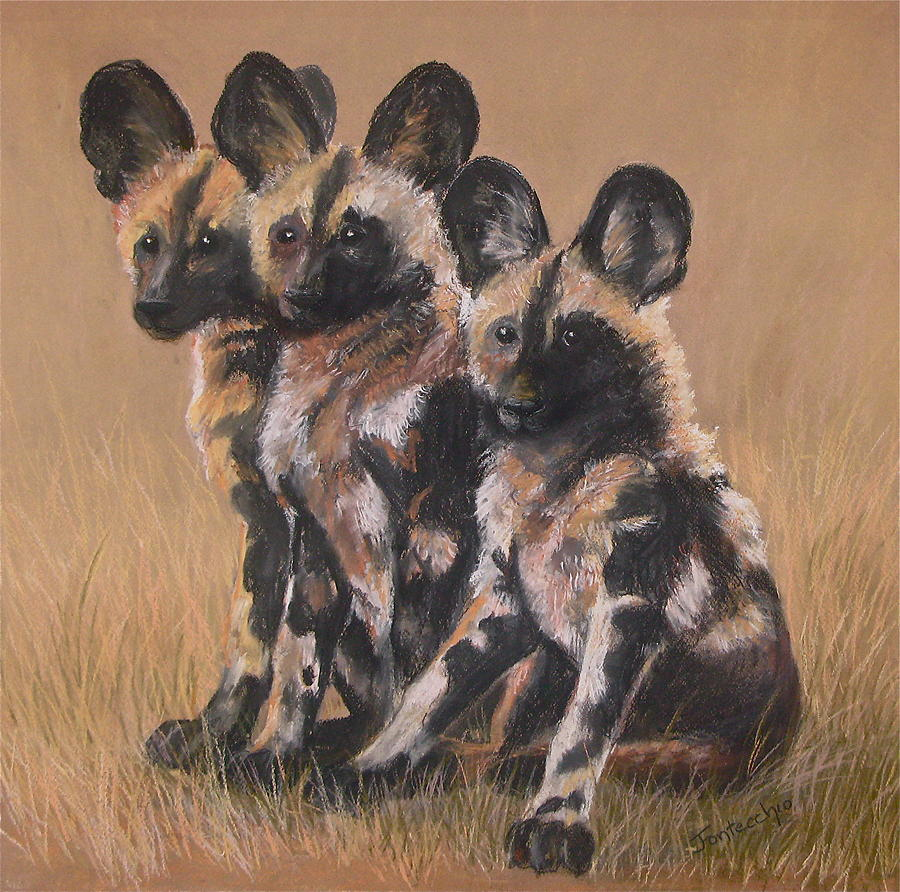 Young Cape Hunting Dogs Painting  - Young Cape Hunting Dogs Fine Art Print