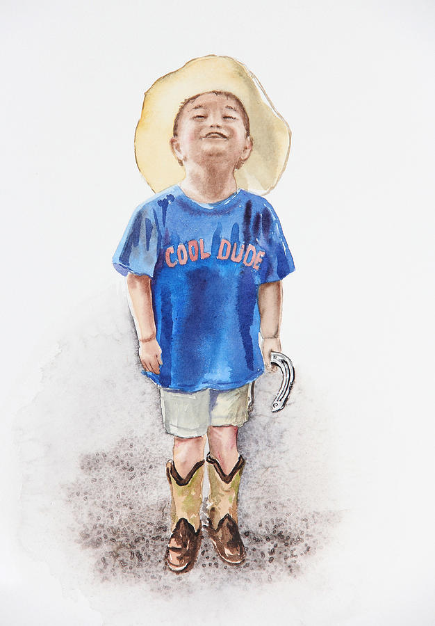 Boy Painting - Young Cowboy  by Irina Sztukowski