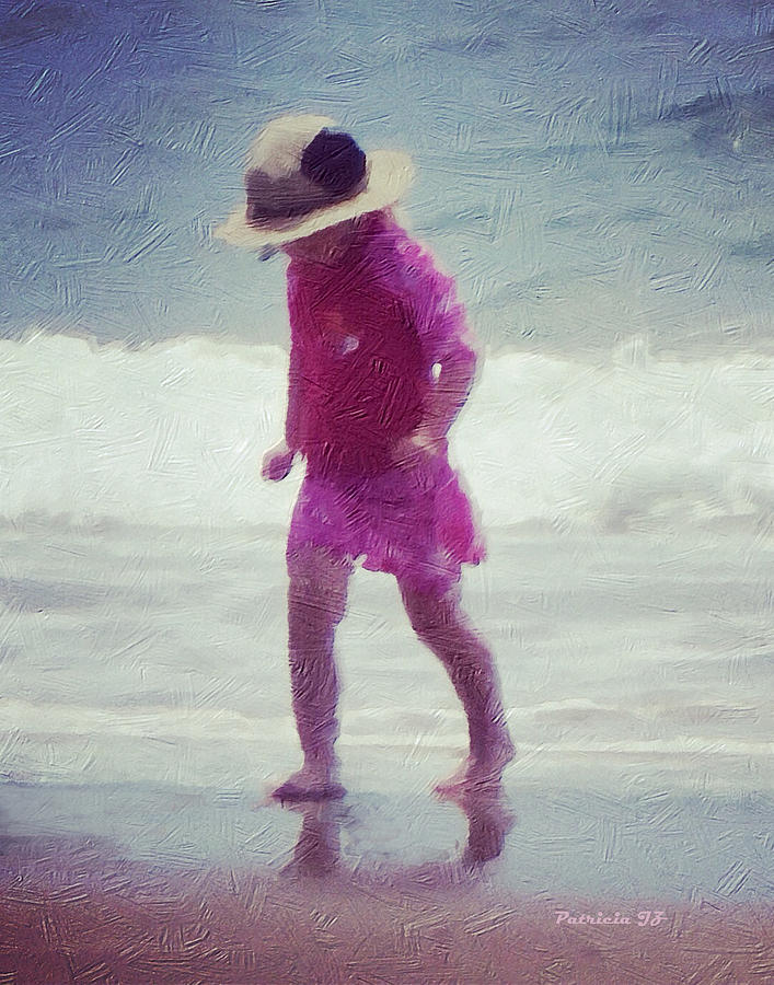 Young Girl At The Beach Mixed Media