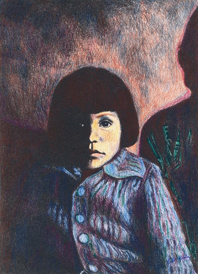 Young Girl In Blue Sweater Drawing