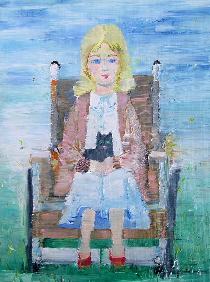 Girl Painting - Young Girl-with Cat- On Wheelchair by Fabrizio Cassetta