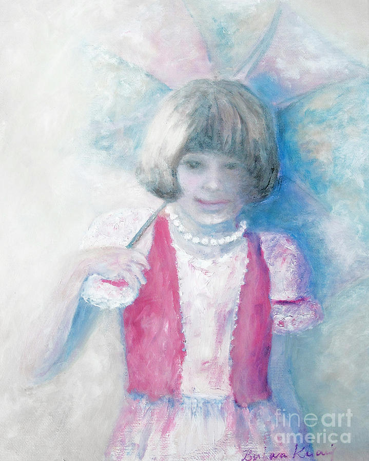 Young Girl With Umbrella Painting  - Young Girl With Umbrella Fine Art Print