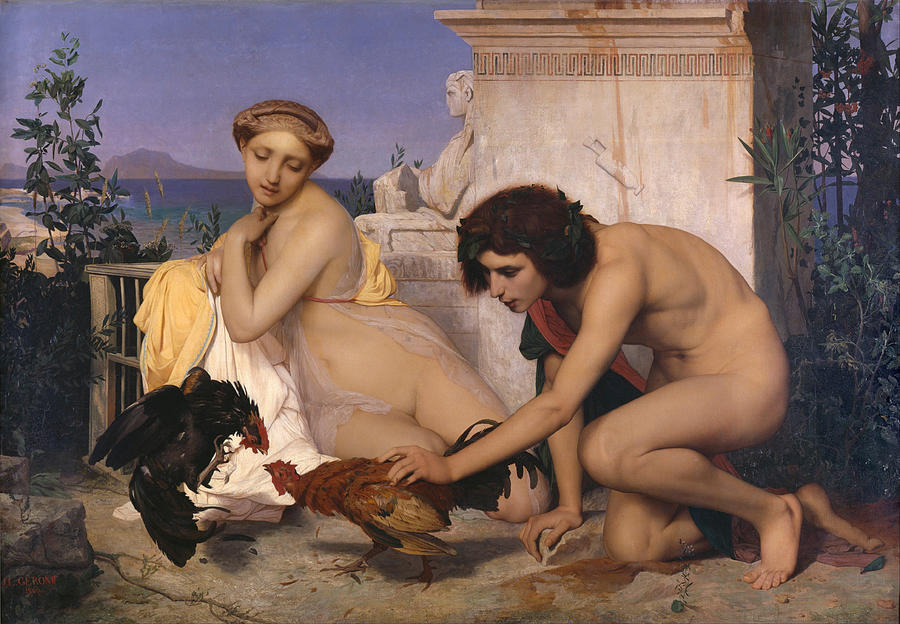Young Greeks Attending A Cock Fight Digital Art