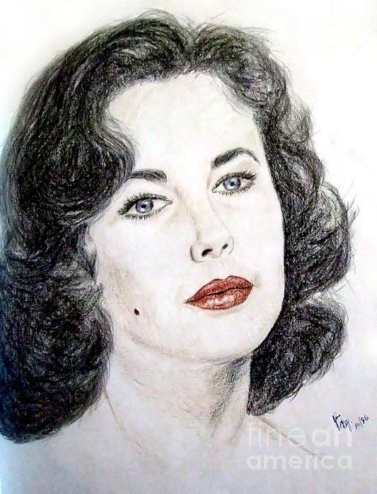 Young Liz Taylor Portrait Drawing