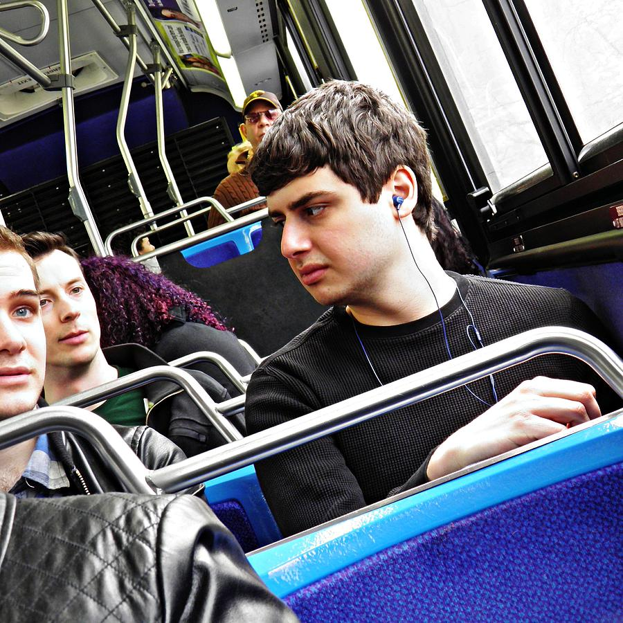 Young Men On The M4 Bus Photograph - Young Men On The M4 Bus by Sarah Loft