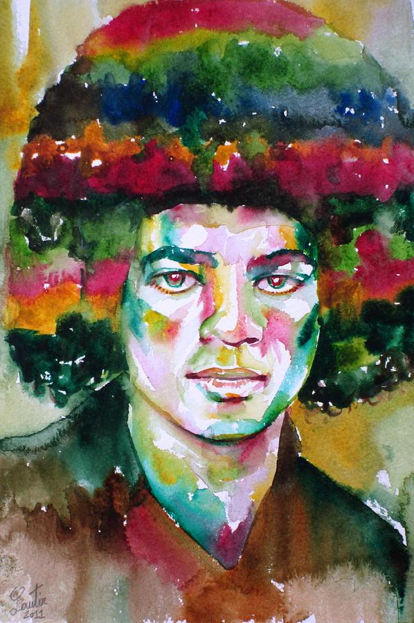 Young Michael Jackson - Watercolor Portrait Painting