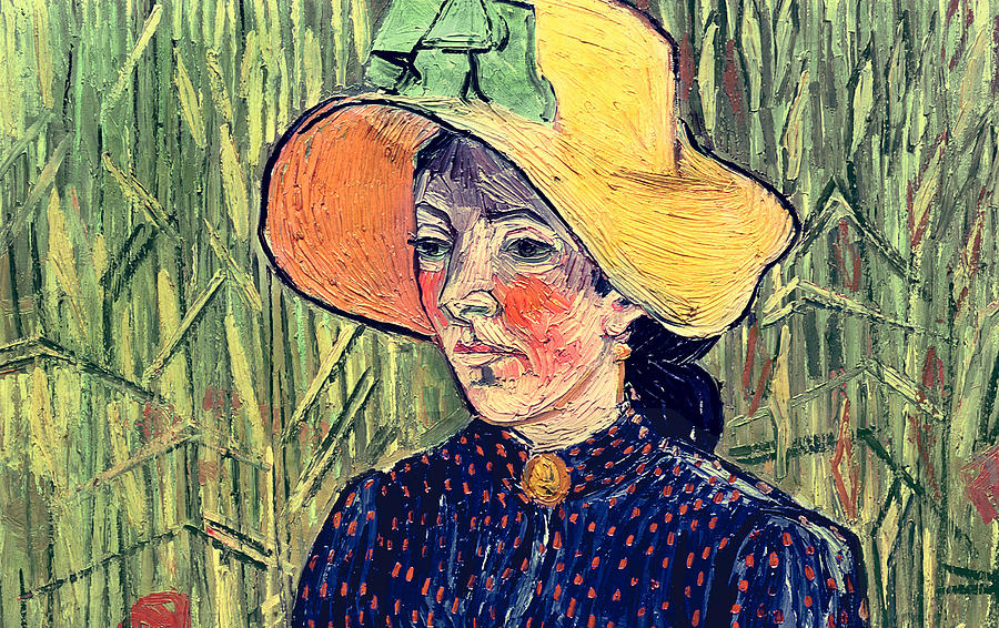 Young Peasant Girl In A Straw Hat Sitting In Front Of A Wheatfield Painting