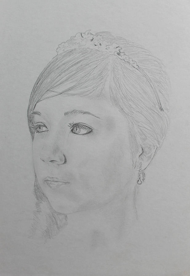 Drawing - Young Princess by Miguel Rodriguez