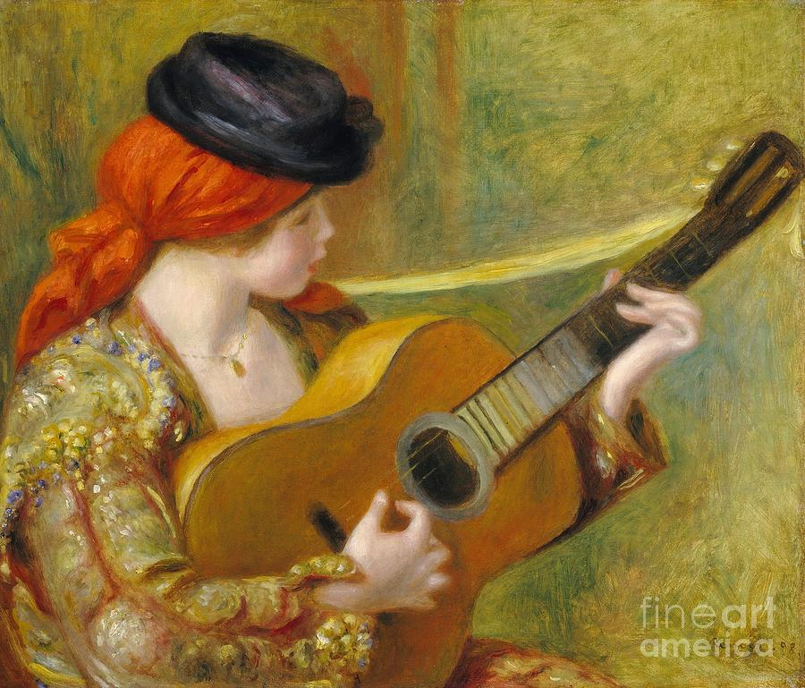Young Spanish Woman With A Guitar Painting  - Young Spanish Woman With A Guitar Fine Art Print