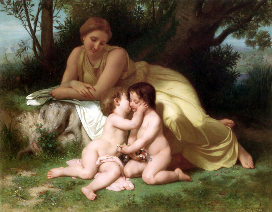 Young Woman Contemplating Two Embracing Children Photograph  - Young Woman Contemplating Two Embracing Children Fine Art Print