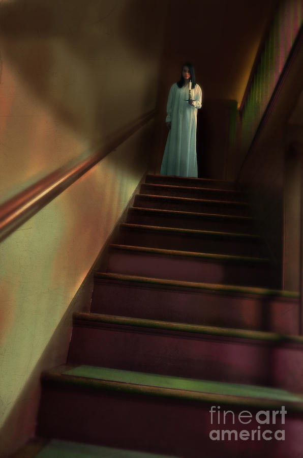 Young Woman In Nightgown On Stairs Photograph  - Young Woman In Nightgown On Stairs Fine Art Print