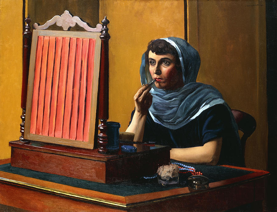 Young Woman Putting On Lipstick Painting