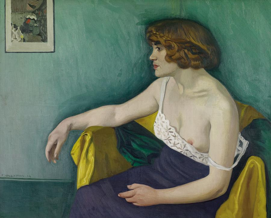 Female; Portrait; Young; Profile; Half Length; Bare Breast; Drapery; Interior; Melancholy; Ennui; L'ennui Painting - Young Woman Seated In Profile by Felix Edouard Vallotton