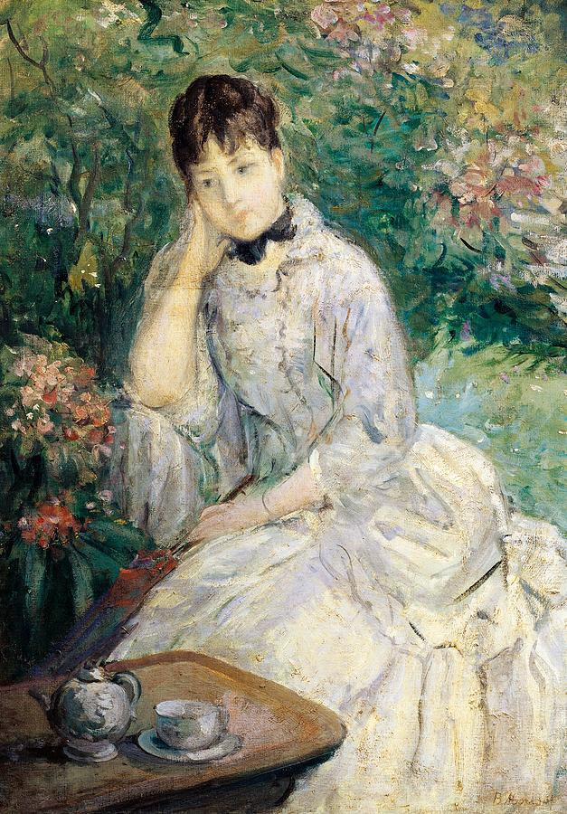 Art Painting - Young Woman Seated On A Sofa by Berthe Morisot