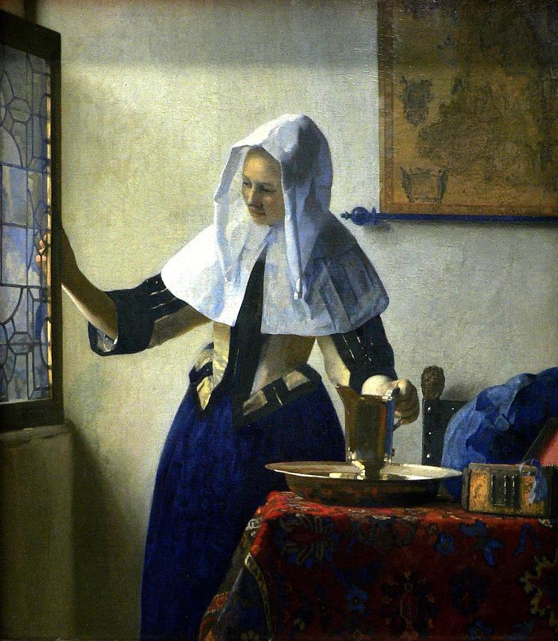 Women Painting - Young Woman With A Water Pitcher by Johannes Vermeer