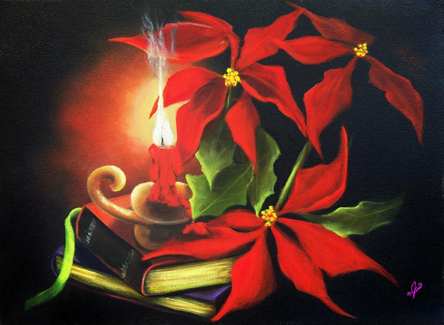Yule candle glow painting by joni mcpherson for Candle painting medium