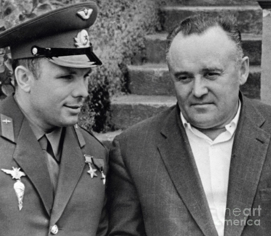 Yuri Gagarin And Sergei Korolev Photograph  - Yuri Gagarin And Sergei Korolev Fine Art Print
