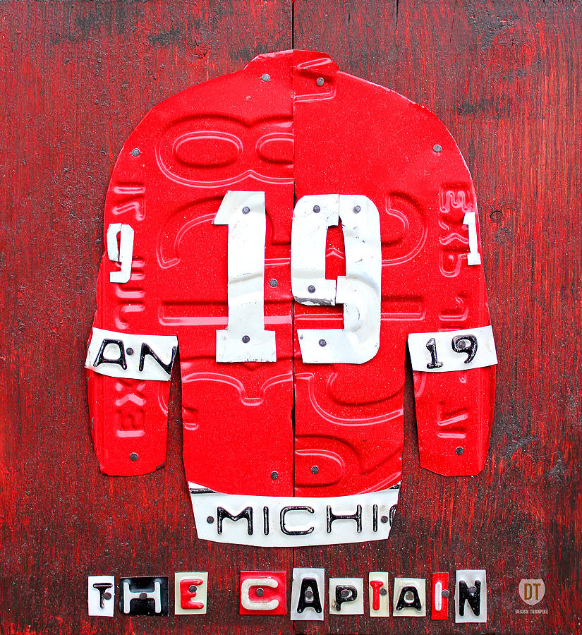 Yzerman The Captain Red Wings Hockey Jersey License Plate Art Mixed Media