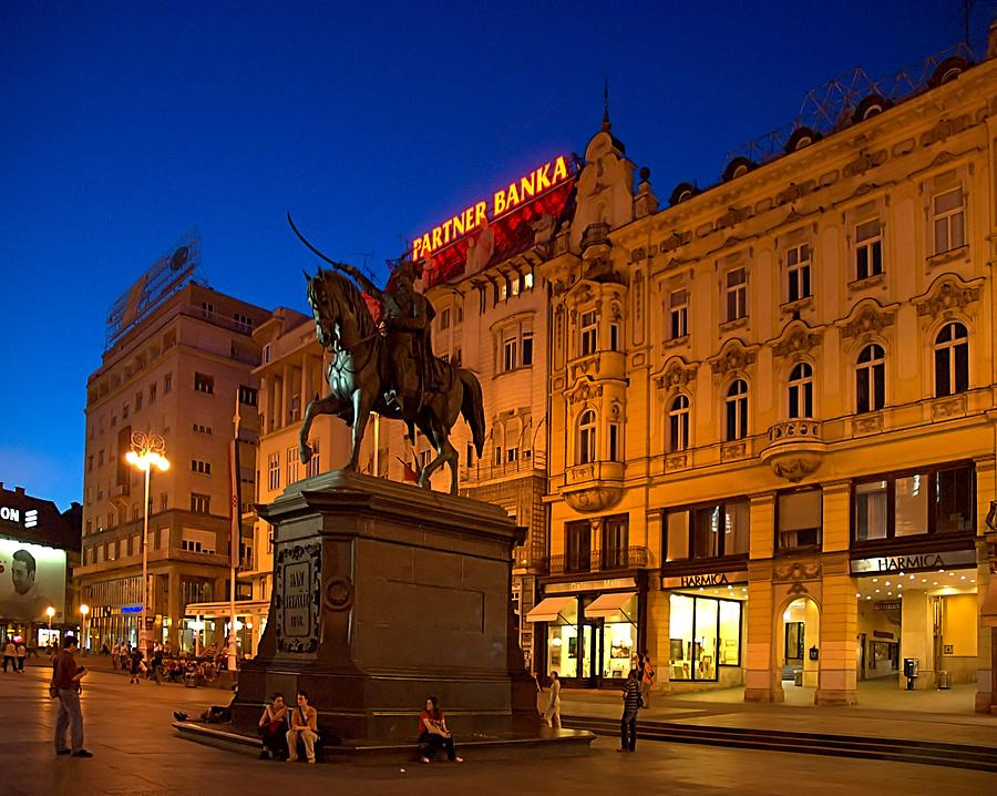 Zagreb Ban Jelacic Square At Night Photograph