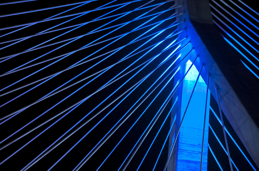 Zakim In Blue - Boston Photograph  - Zakim In Blue - Boston Fine Art Print