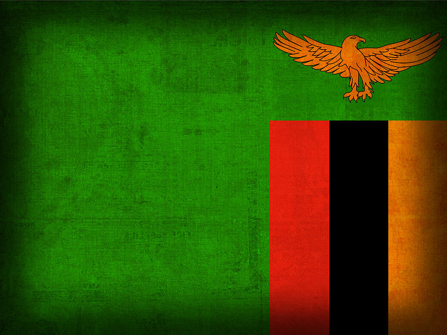 Zambia Flag Distressed Vintage Finish Africa African Nation Country Mixed Media - Zambia Flag Distressed Vintage Finish by Design Turnpike