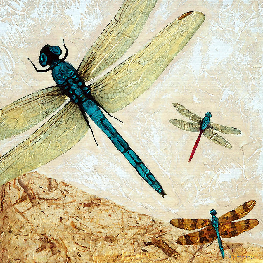 Zen Flight - Dragonfly Art By Sharon Cummings Painting  - Zen Flight - Dragonfly Art By Sharon Cummings Fine Art Print