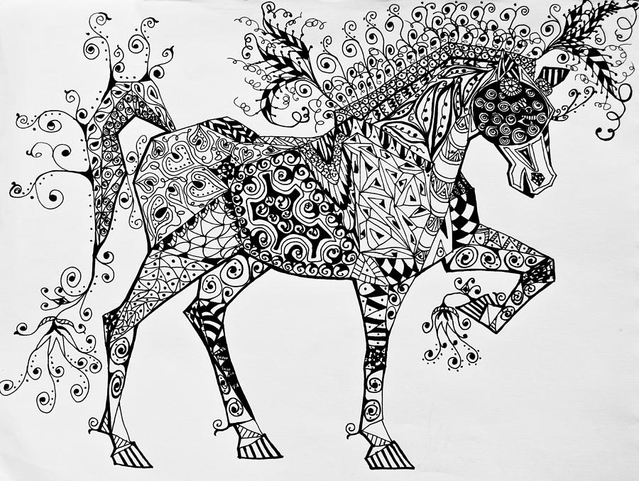 Zentangle Circus Horse Drawing By Jani Freimann