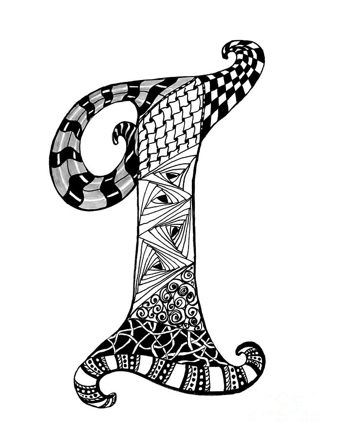 Letter I Monogram In Black And White Drawing by Nan Wright