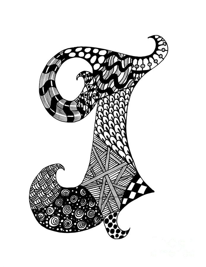Letter J Monogram In Black And White Drawing by Nan Wright
