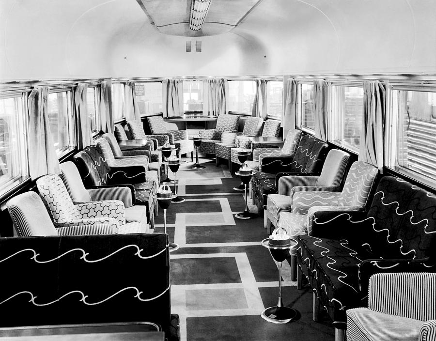 Zephyr art deco lounge car photograph by underwood archives - Deco lounge tv ...
