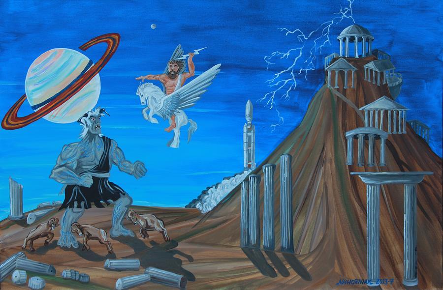 Landscape Painting - Zeus Versus The Titans by Mike Nahorniak