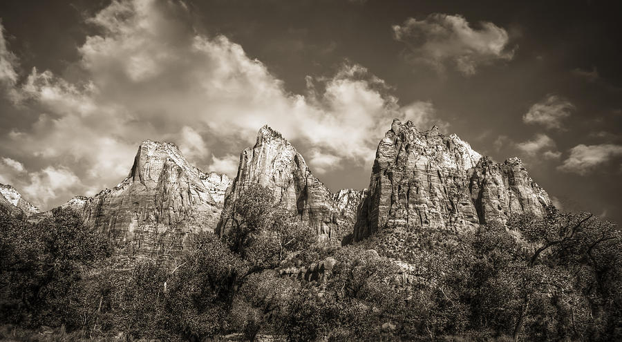 Zion Court Of The Patriarchs In Sepia Photograph  - Zion Court Of The Patriarchs In Sepia Fine Art Print