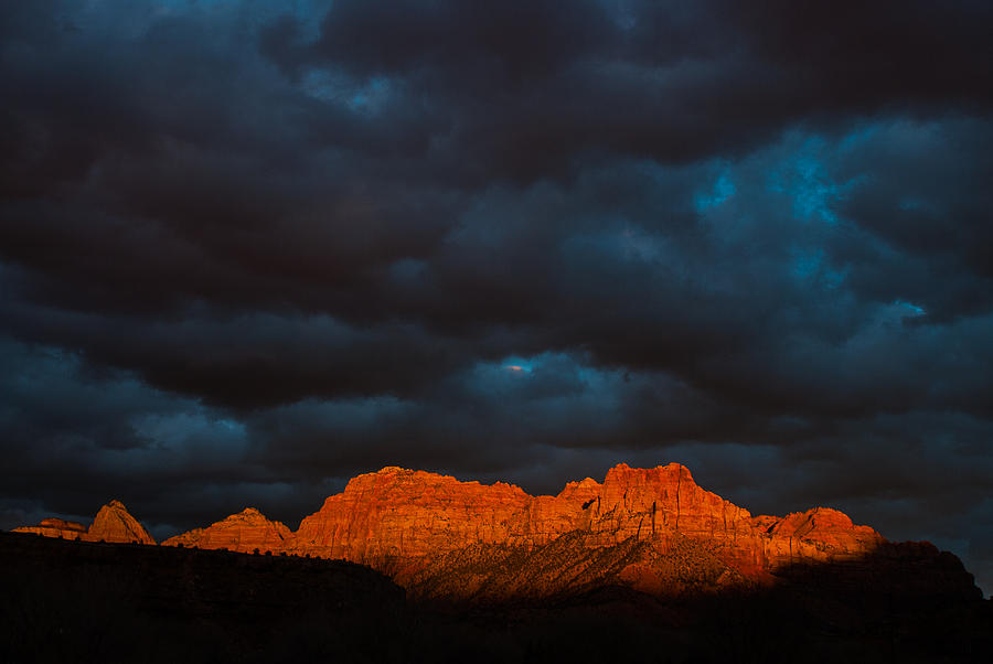 Zion National Park Sunset Rockville Utah And Storm Clouds Over The Watchman Photograph