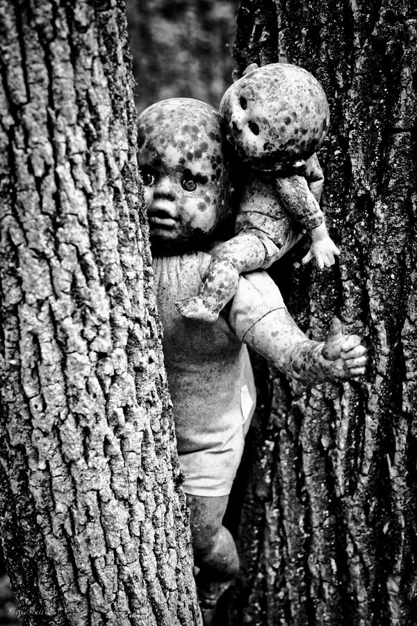 Zombie Dolls Black And White Photograph