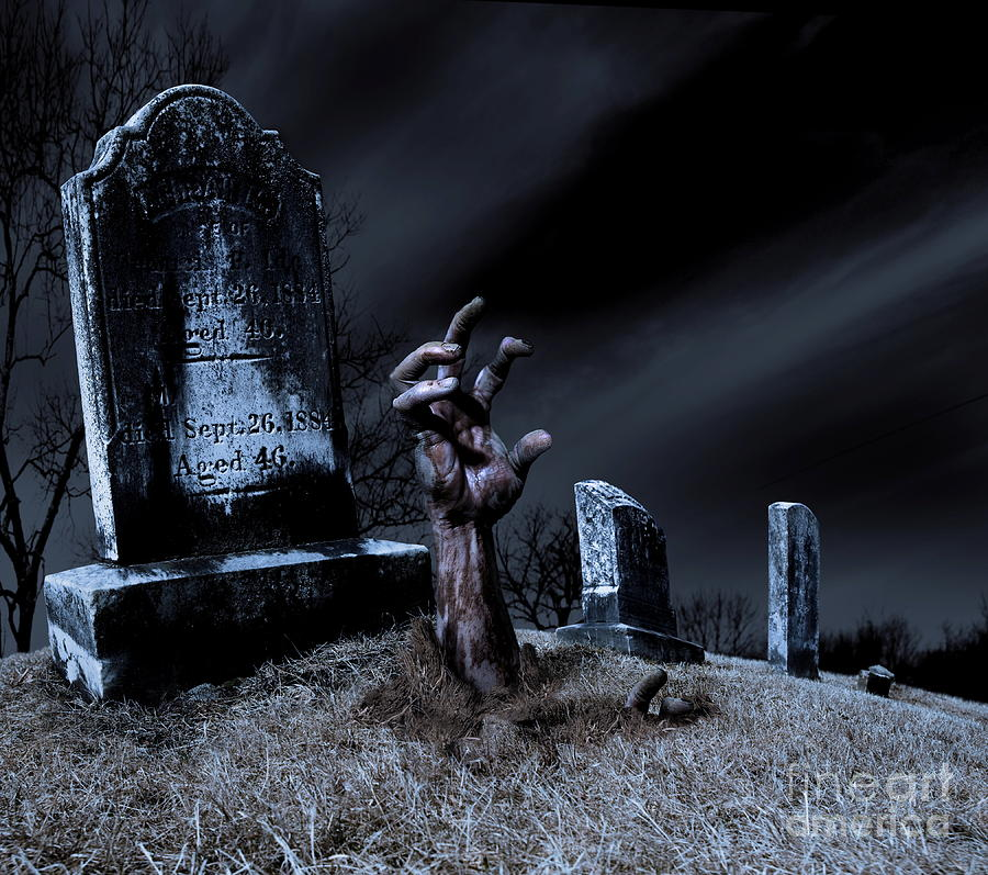 Zombie Rising From The Grave Photograph